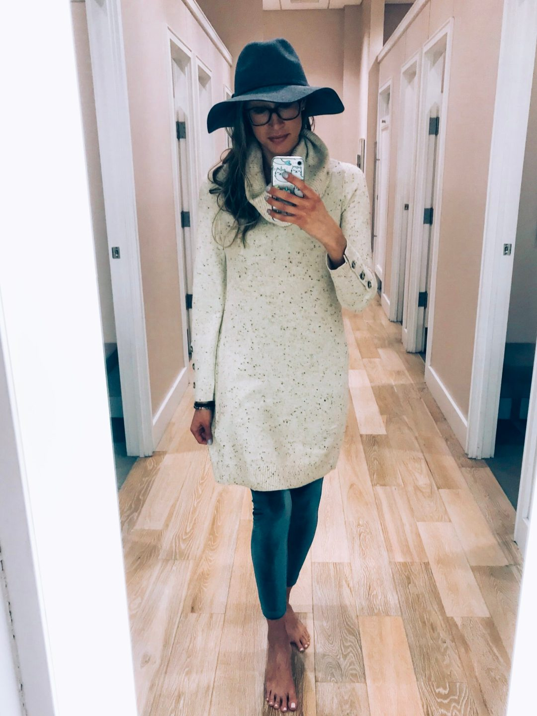 Loft try-on and haul winter 2018 cowl neck sweater dress, velvet leggings, wool fedora