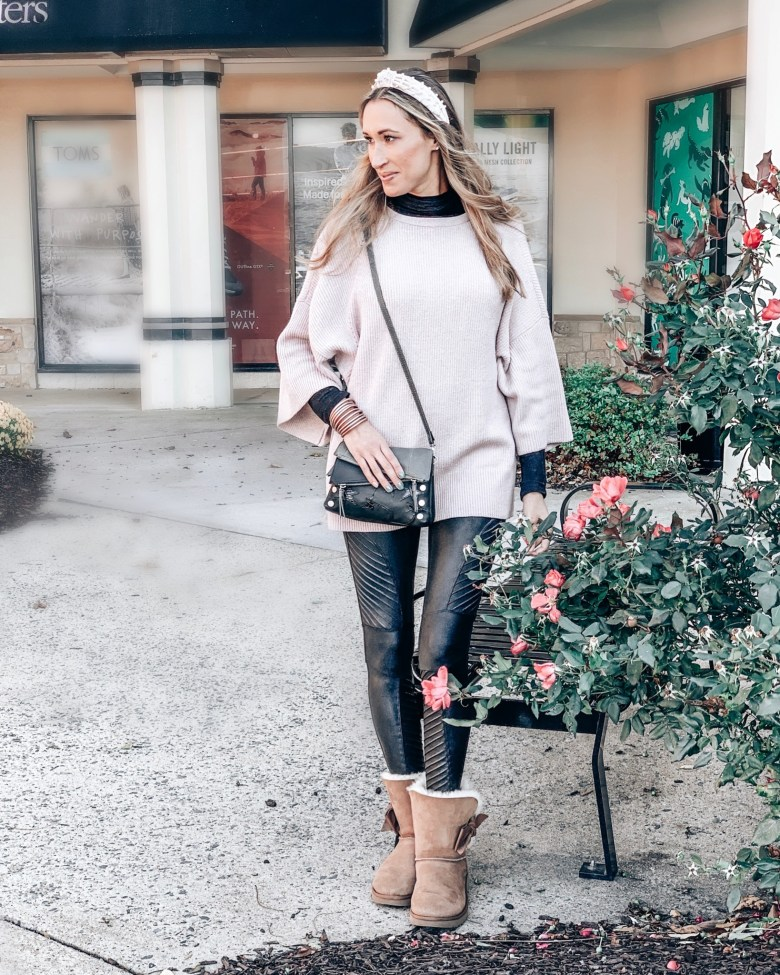 Pink poncho tunic sweater with faux leather Spanx leggings as a fall outfit or winter outfit