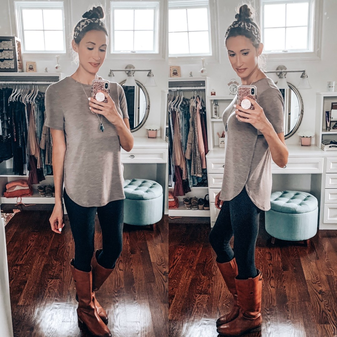 Ann Taylor tunic t-shirt with black leggings and Sam Edelman riding boots; cute fall outfit