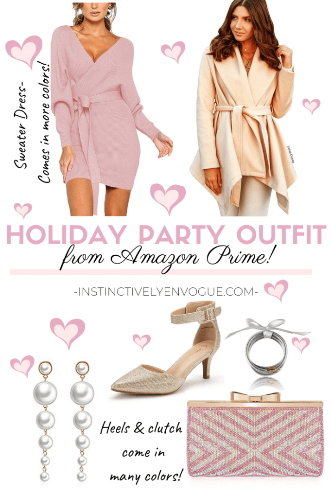 Holiday outfit from Amazon- pink sweater dress, belted wrap coat, and feminine clutch
