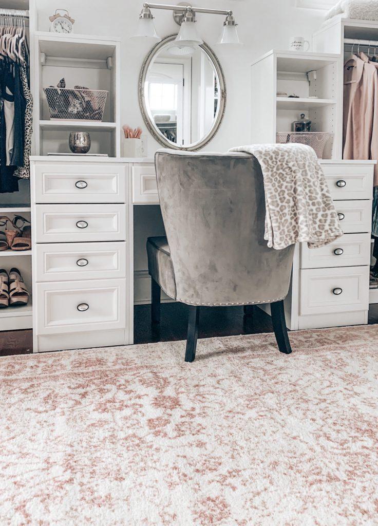 vanity in master closet
