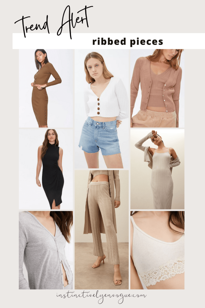 ribbed tops, cardigans, dresses for 2021 - spring fashion trends