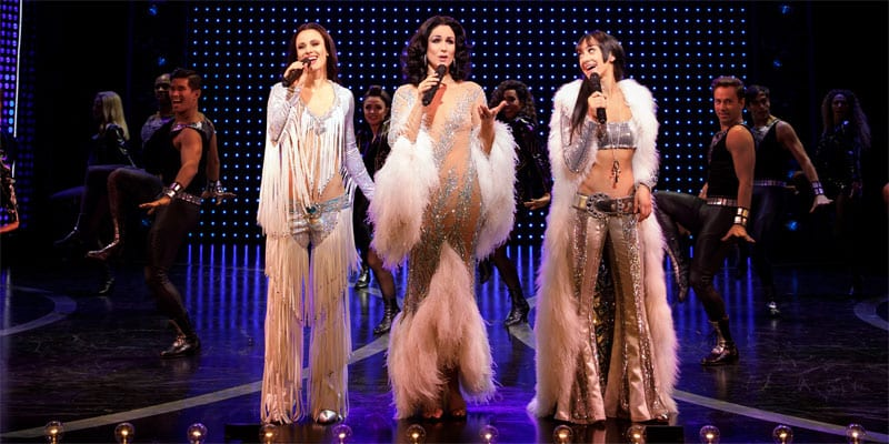 Teal Wicks as Lady, Stephanie J. Block as Lady, Micaela Diamond as Babe and the cast of THE CHER SHOW on Broadway (photos: Joan Marcus)