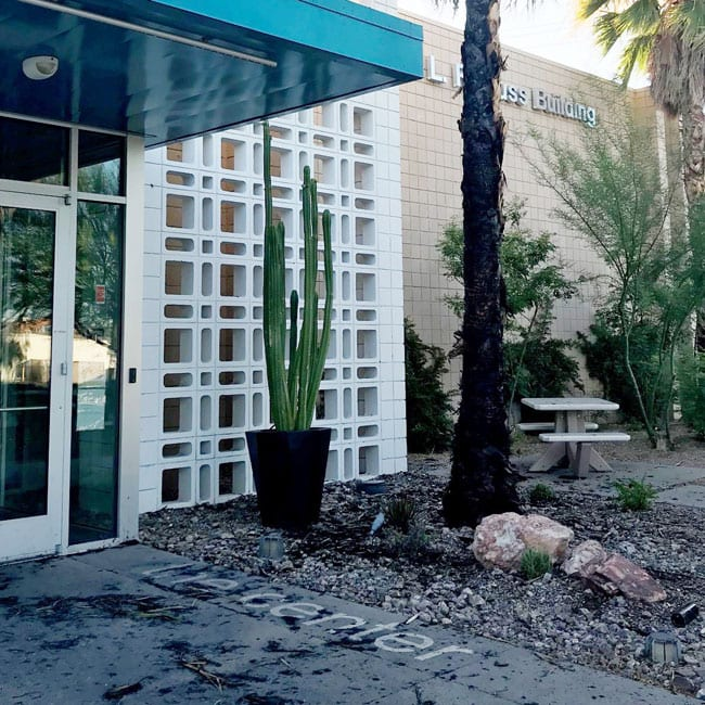Photo shows evidence of arson attempt outside the LGBT Center in Las Vegas