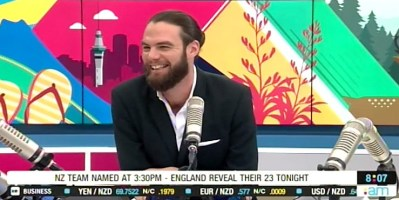 Radio host Ryan Bridge the moment he was accidentally outed on the air (screen capture)