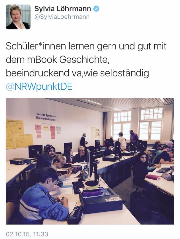 """Sylvia Löhrmann postet auf Twitter über das Institut für digitales Lernen: """"Schüler*innen lernen gern und gut mit dem mBook Geschichte, beeindruckend va. wie selbstständig"""""""