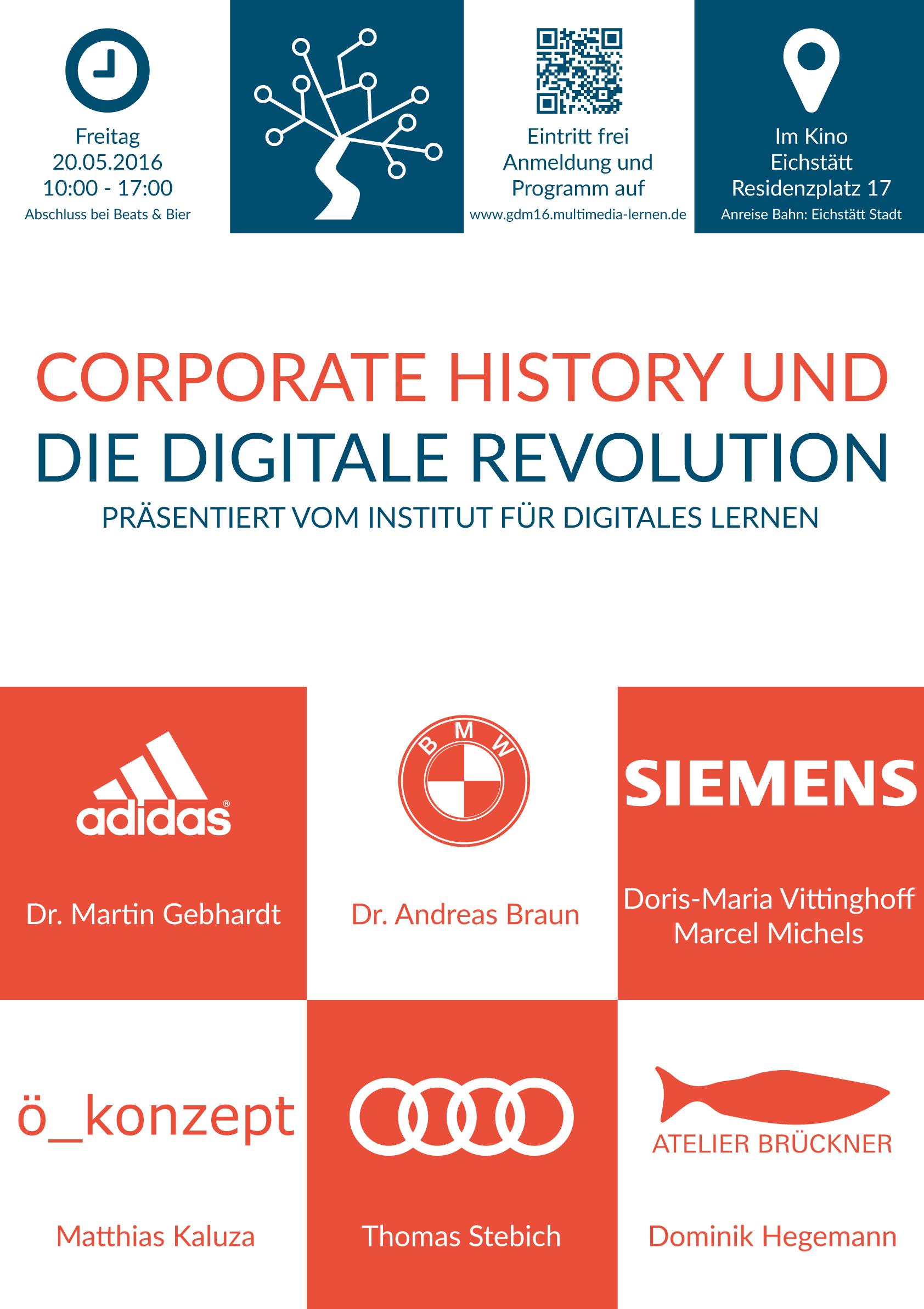 Plakat GDM - Corporate History und die digitale Revolution