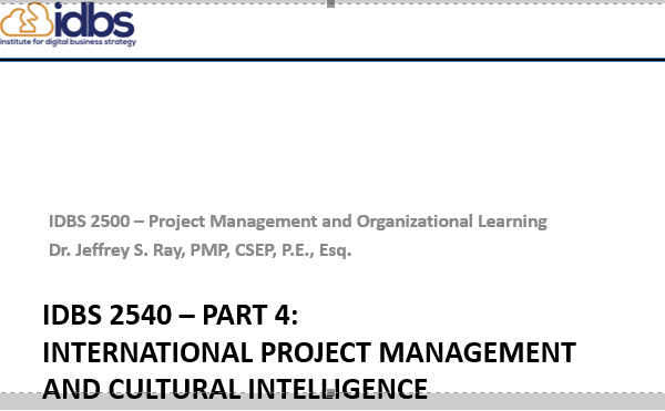 PM Part 4 — International PM and Cultural Intelligence