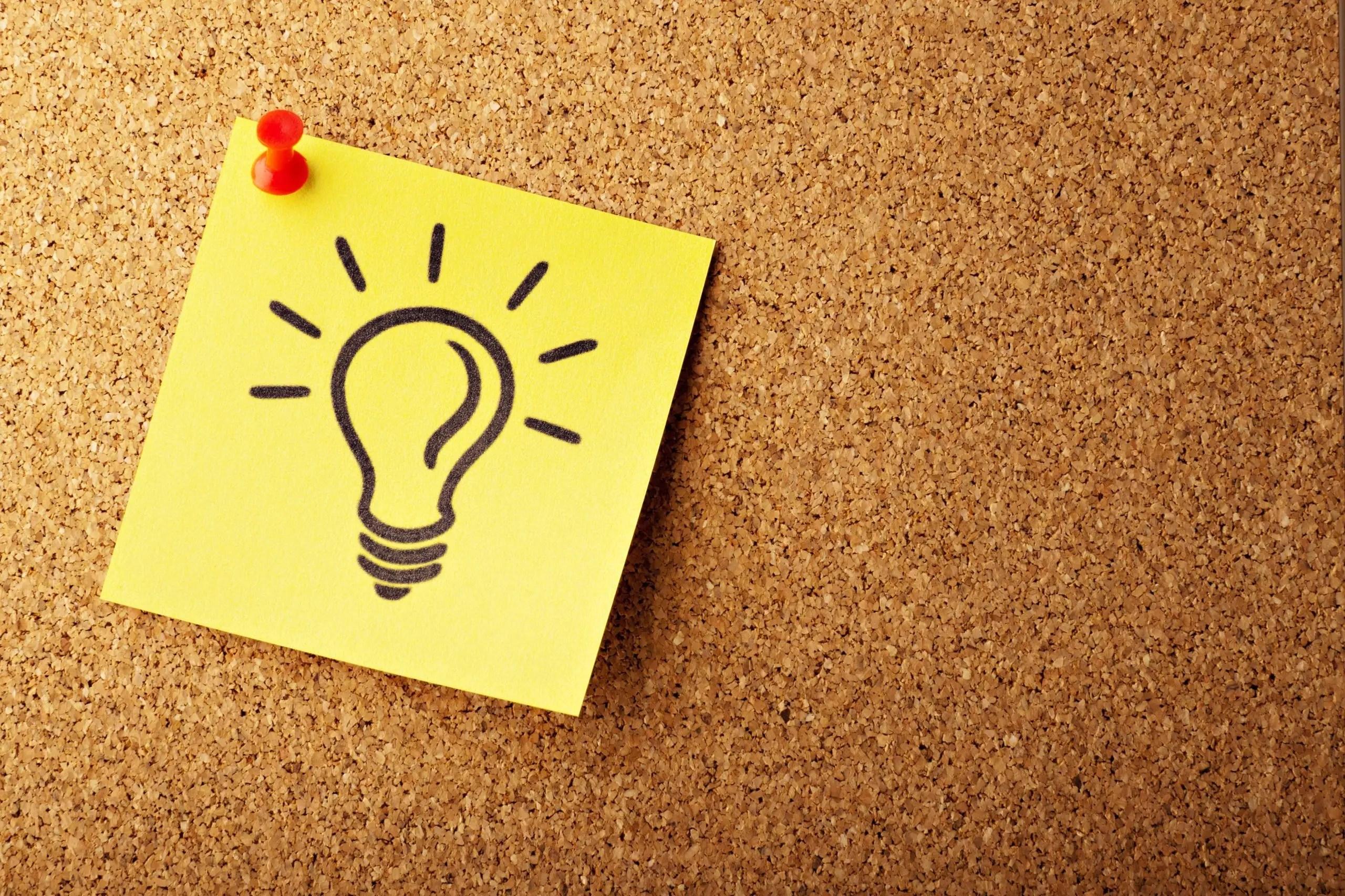 Drawing of a Lightbulb on a Sticky Note - symbolizing innovation