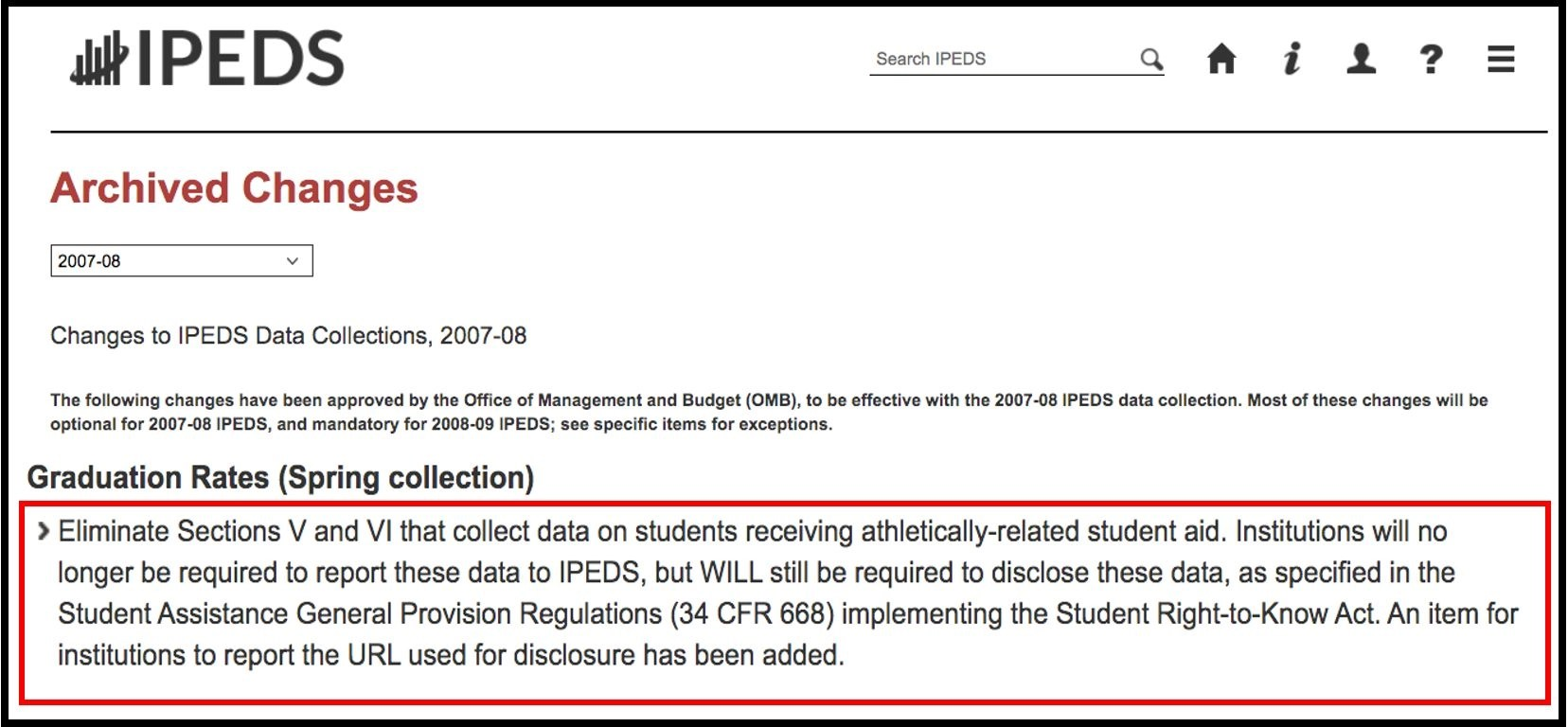Archived changes image from IPEDS - elimination of reporting for athletically-related student aid
