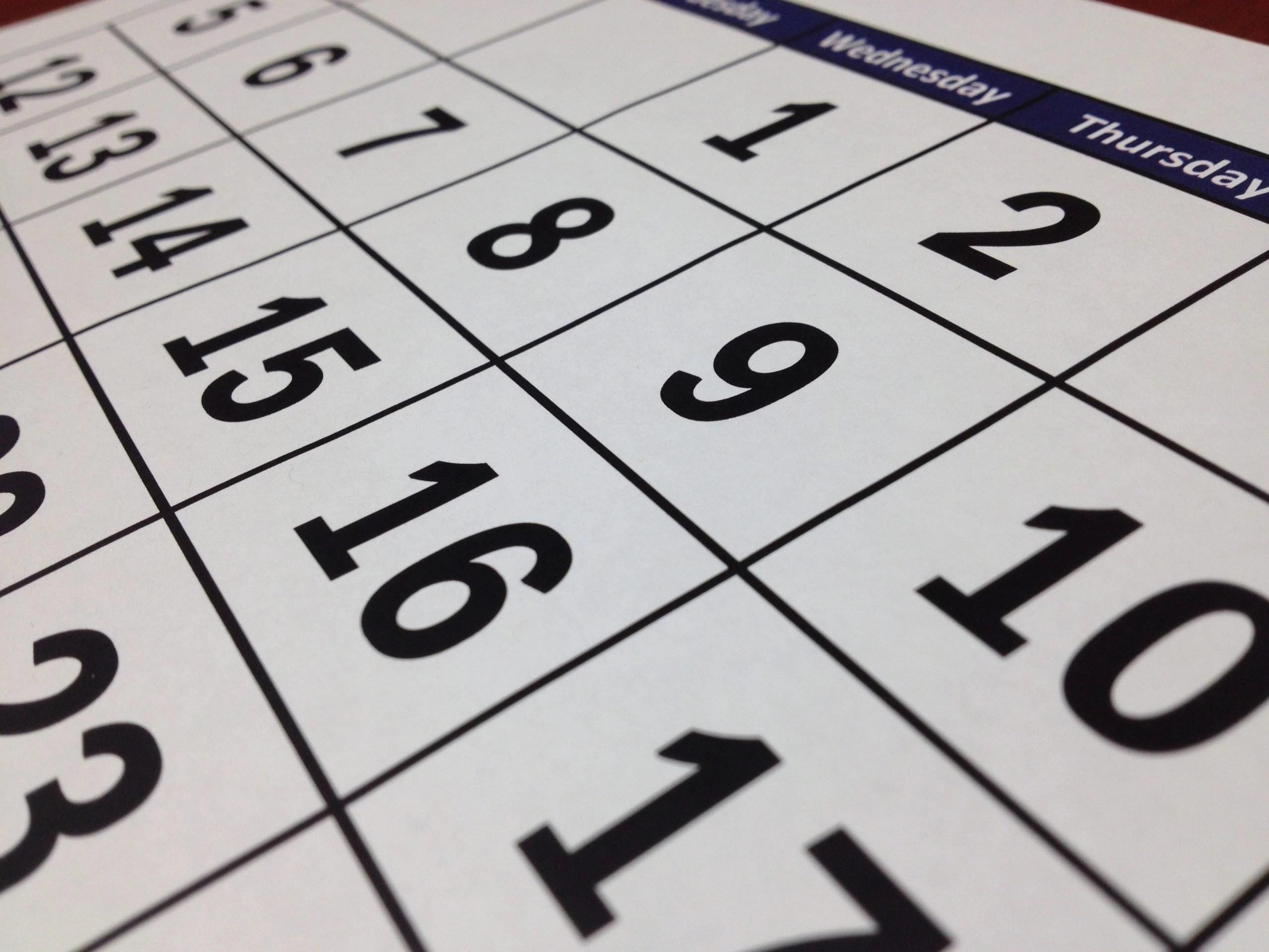 Calendar close-up symbolizing planning