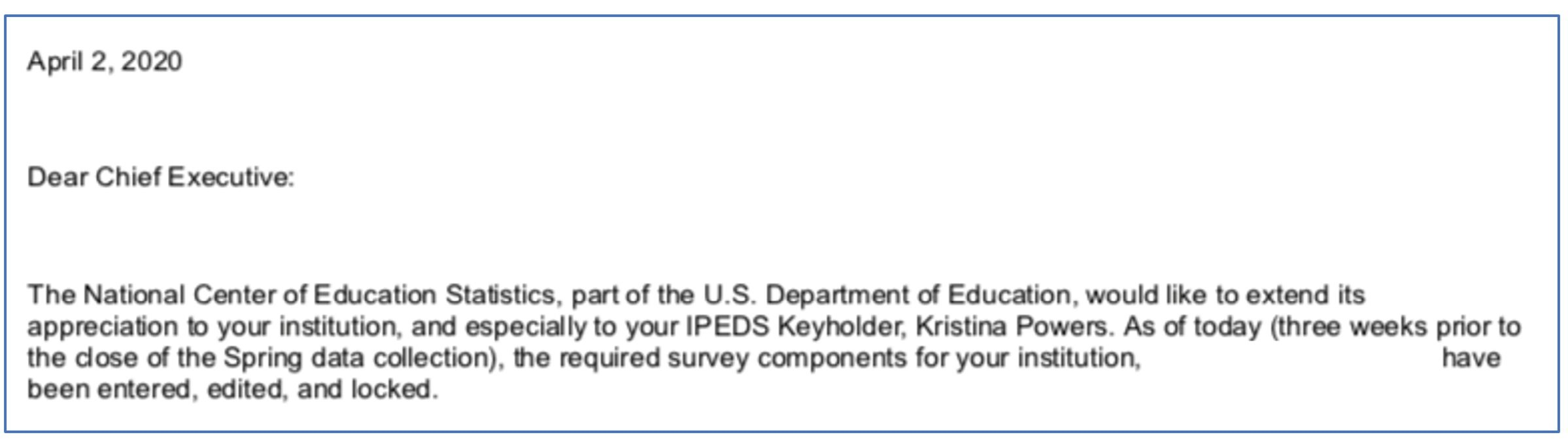 IPEDS CEO-President Kudos Letter