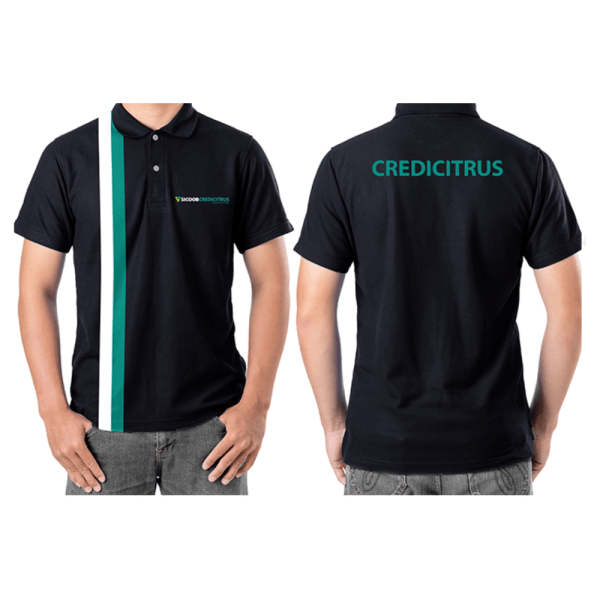 camiseta polo masculina intituto credcitrus na cor preta