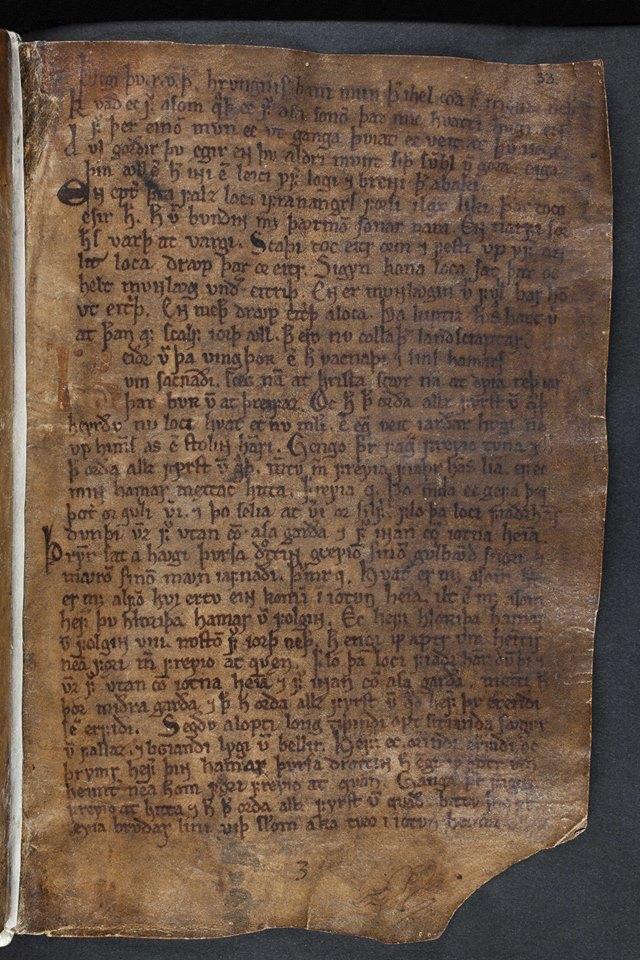 Primeira página de Vǫluspá no manuscrito Codex Regius (GKS 2365 4to), arquivado e disponibilizado pelo Instituto Árni Magnússon de Estudos Islandeses