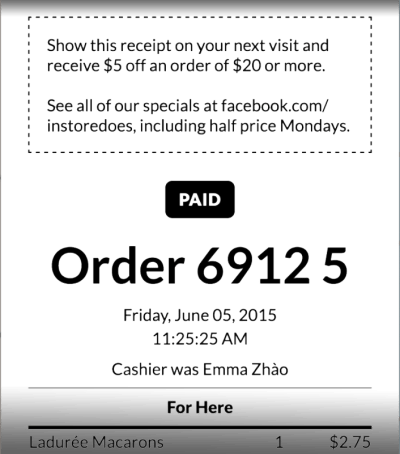 Bakery POS custom receipt