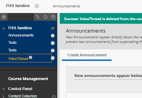 VoiceThread Content Area in Navigation Pane