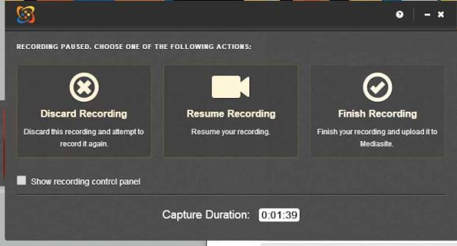 screenshot of discard, resume or finish recording with mediasite desktop recorder