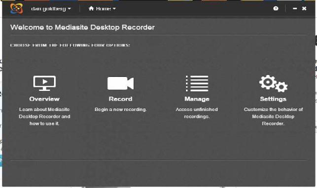 """screenshot """"welcome to the mediasite desktop recorder"""""""