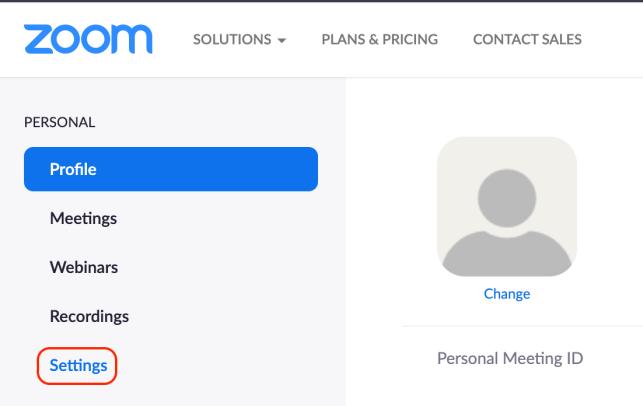 Settings on Zoom web portal