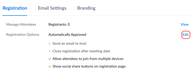 Edit registration options on Zoom