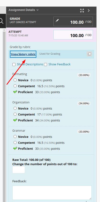 screenshot of accessing rubric