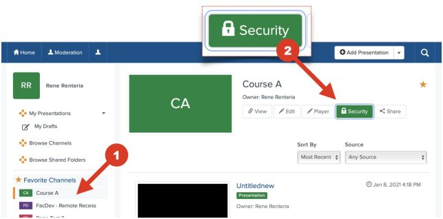 This screenshot show how to set security setting to authenticated users steps 1 through 2.