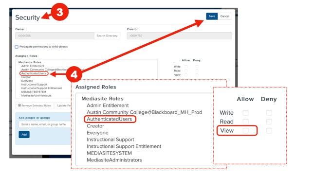 This screenshot show how to set security setting to authenticated users steps 3 through 4.