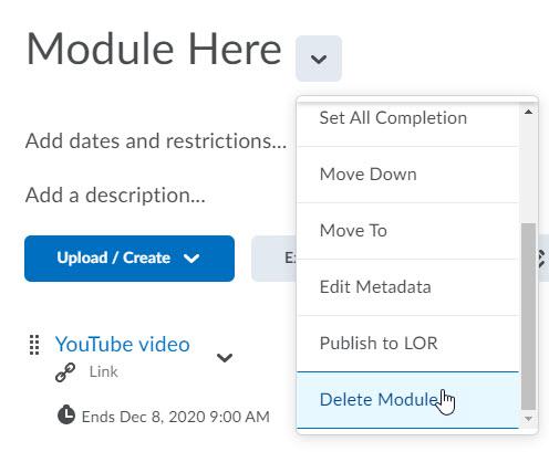 brightspace delete module from context menu