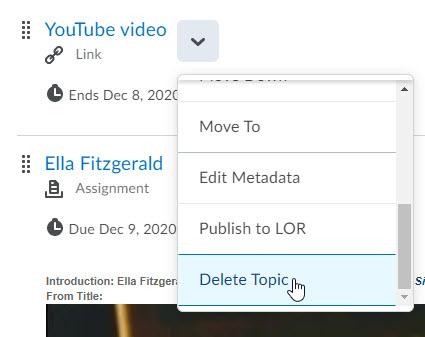 brightspace delete topic in context menu
