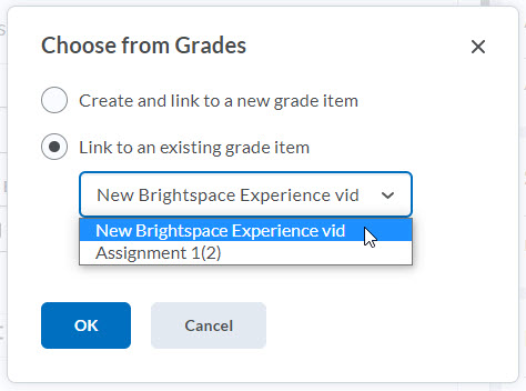 brightspace link to existing grade item