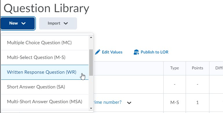 brightspace question library new question dropdown