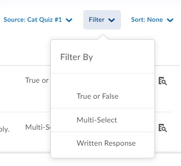 brightspace questions library browse filter