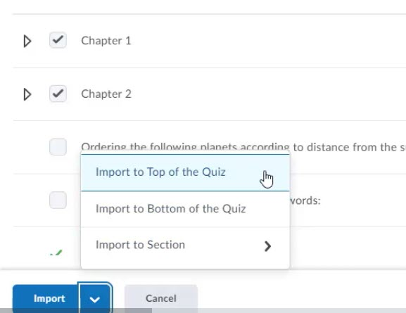 brightspace quiz import sections