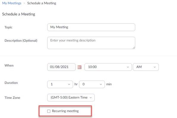 zoom schedule recurring meeting box