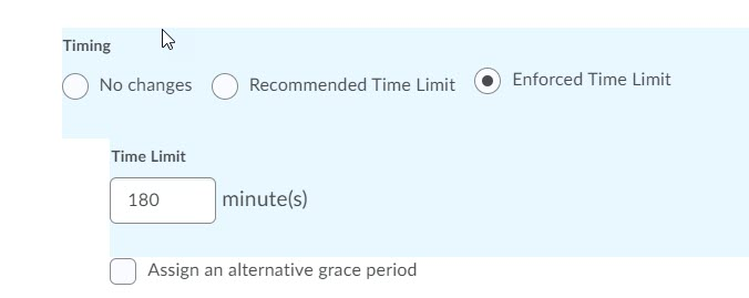 brightspace enforced time limit 180