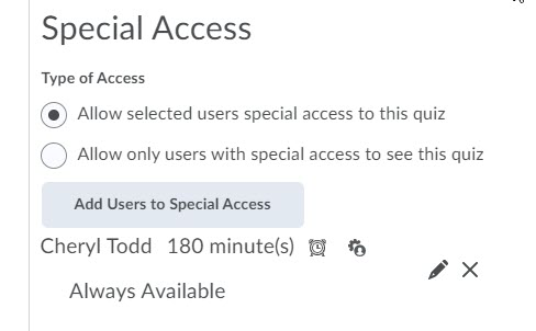 brightspace special access list