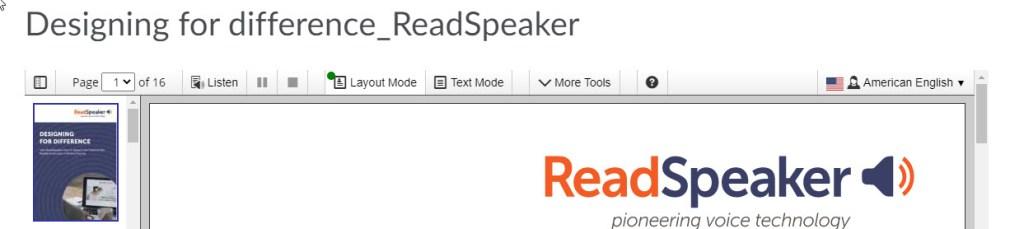 readspeaker document open in docreader