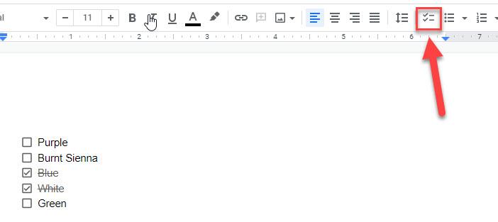 google docs checklist button