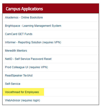 my meredith faculty page voicethread link in campus applications box
