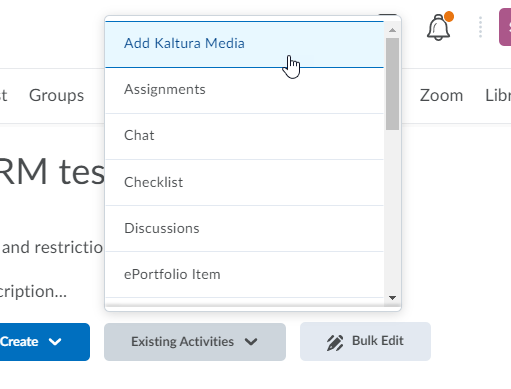 kaltura add existing activity
