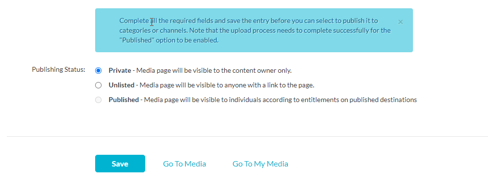 kaltura media details page when initially creating media