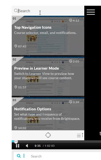 kaltura open video chapters menu