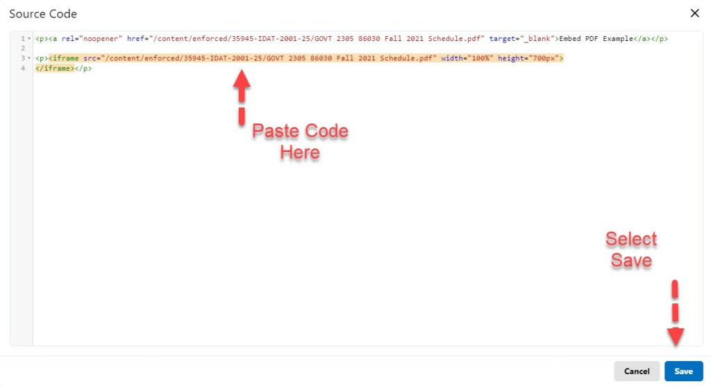 brightspace embed pdf add link to copied code