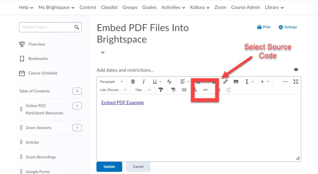 brightspace embed pdf source code button