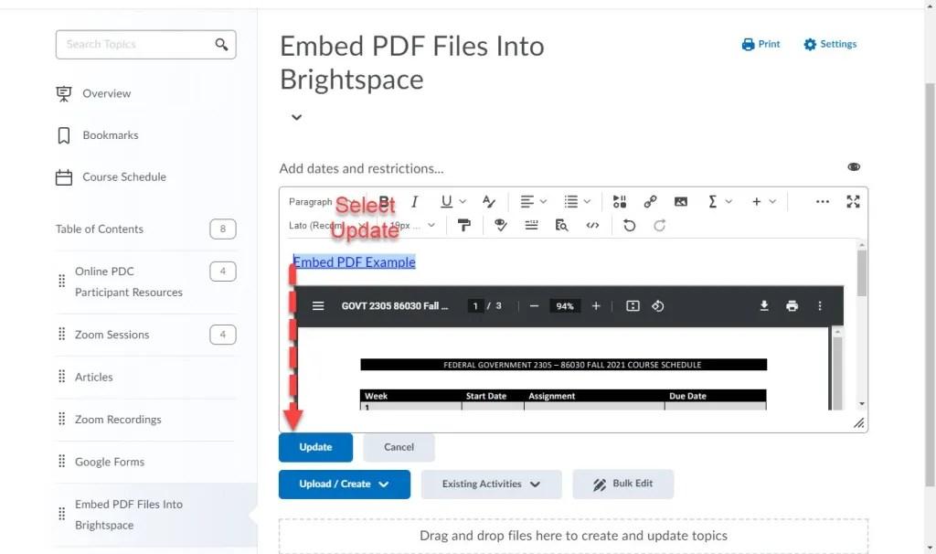 brightspace embed pdf update editor