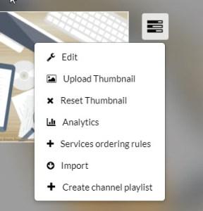 kaltura channel menu options