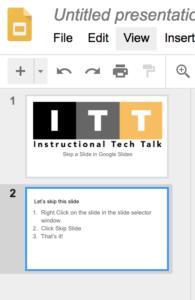 skip hide a slide in a google slides presentation instructional