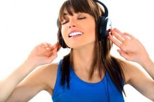 brunette girl listening to music