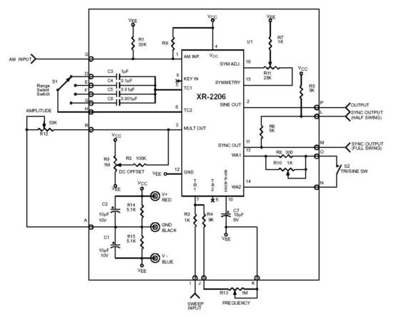 Circuito básico de un generador de 3 formas de onda