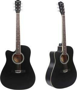 Left Handed Acoustic Guitar Cutaway 41 inch Full-size Beginner Guitar Package with Gig Bag Tuner String Strap Capo, Black By Janerock